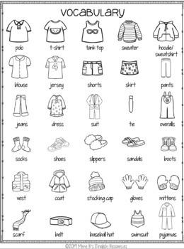 Clothing bingo game for ESL/ELL