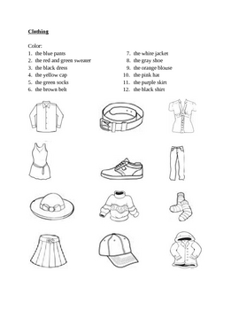 Clothing in English Color worksheet 1