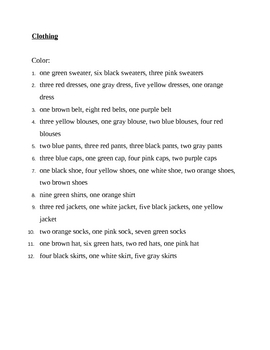 Clothing in English Color worksheet 2