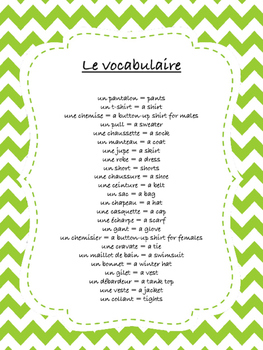 Clothing in French: Bingo Game and Activities {Les Vetements}