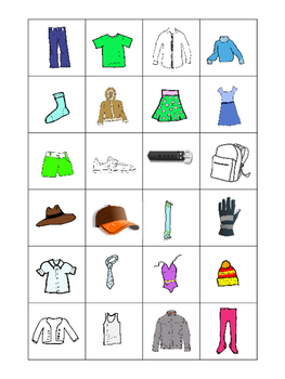 clothing in french bingo game and activities les vetements tpt. Black Bedroom Furniture Sets. Home Design Ideas