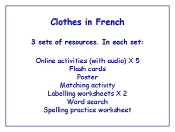 Clothing in French Bundle - Worksheets, Games, Activities & More (with audio)