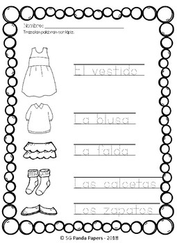 Clothing in Spanish