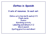 Clothing in Spanish Bundle - Worksheets, Games, Activities & More (with audio)