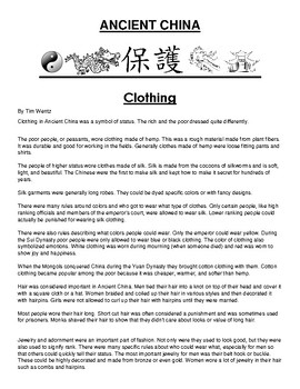 Clothing in ancient China Article and Assignment