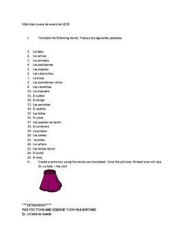 Clothing pictonary / La ropa