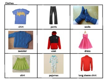 Clothing picture mats, AAC, Proloquo2go, lotto, speech therapy, autism