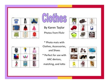 Clothing picture mats, AAC, Proloquo2go, lotto, speech the