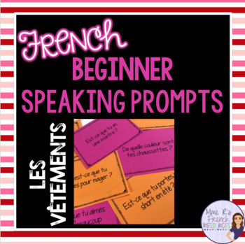 French speaking activity - clothing speaking prompt task cards