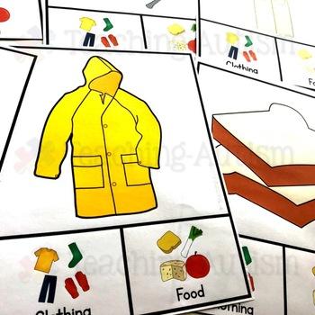 Clothing v Food Sorting Categories Task Cards