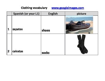 Clothing vocabulary w pictures, words in English translated into Spanish