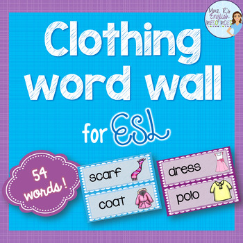 Clothing vocabulary word wall for ESL