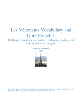 Clothing/Seasons/Colors Vocabulary and Quiz French 1