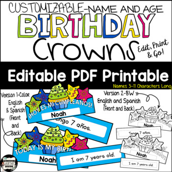 Happy Birthday Headband/Crowns Printable- Spanish and English; Easy Editable PDF