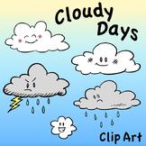 Cloud Characters Clip Art, Cloudy Days, Storm Cloud, Rain Cloud, Happy Cloud