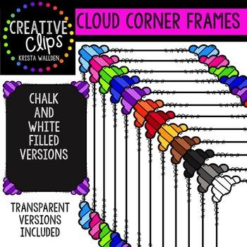 Cloud Corner Frames {Creative Clips Digital Clipart}