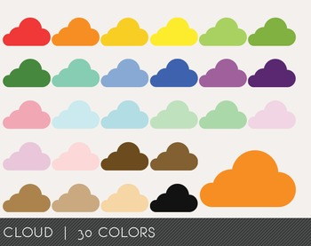 Cloud Digital Clipart, Cloud Graphics, Cloud PNG, Rainbow Cloud Digital Files