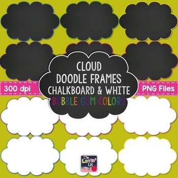 Cloud Doodle Frames {Chalkboard & White} in Bubble Gum Colors