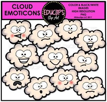 Cloud Emoticons Clip Art Bundle {Educlips Clipart}