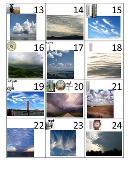 Cloud Formation and Weather Instruments Calendar Math Pieces