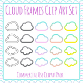 Cloud Frame Weather Theme Clip Art Set for Commercial Use