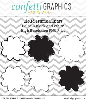 Cloud Frames In Black and White with Solid Center High Quality Clip Art