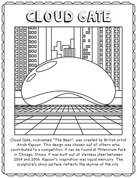Cloud Gate Informational Text Coloring Page Craft or Poster, Geography