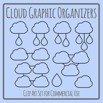 Cloud Graphic Organizers Blank Template Clip Art Set for Commercial Use