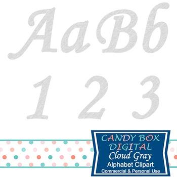 Cloud Gray Alphabet Clip Art