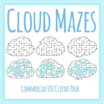 Cloud Mazes Clip Art Set - Easier Weather Mazes for Commercial Use