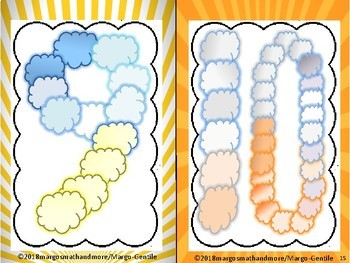 Cloud Numbers Display Posters With Color Burst Frames