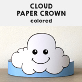 Cloud Paper Crown Headband Printable Spring Summer Craft Activity Template
