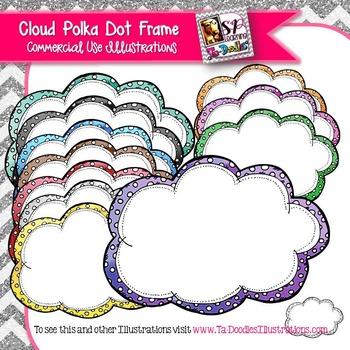 Cloud Polka Dot Frames Clip Art