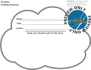 Cloud Shaped Reading Response Sheets for Any Book