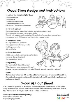 photo relating to Slime Recipe Printable referred to as Cloud Slime Recipe and Match Advisor by means of STEM Club TpT