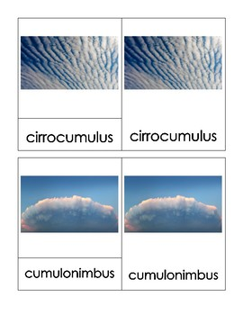 Cloud Type Montessori 3-Part Cards