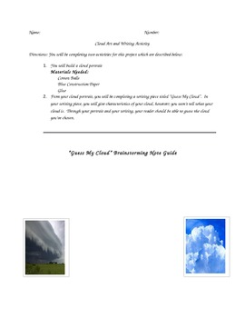 Cloud Writing with Puff Ball Art Activity