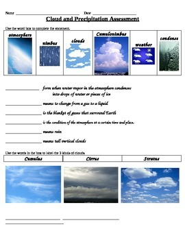 Cloud and Precipitation Assessment 4th Grade Science