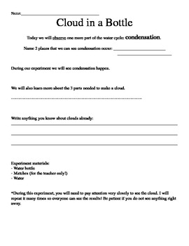 Cloud in a Bottle - Experiment Directions, Worksheet & Les