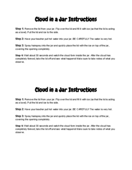 Cloud in a Jar Activity Instructions