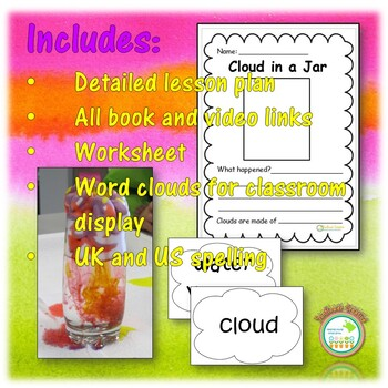 Science Weather Cloud in a Jar Lesson Plan with Worksheet and Word Wall