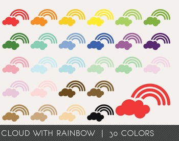 Cloud with rainbow Digital Clipart, Cloud with rainbow Graphics