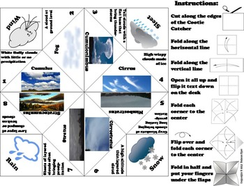 Types of Clouds Activity Foldable (No Prep SCOOT Unit Review Quiz Game)