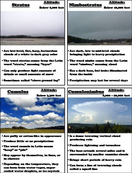 The Types of Clouds Activity (Weather Unit)