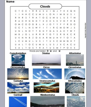 Types of Clouds Worksheet/ Word Search (Weather Unit)