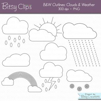 Clouds Clipart Digital Art Set Weather Clipart WITH Black and White Outlines