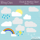 Clouds Clipart Digital Art Set Weather Clipart WITH Black