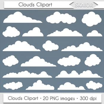 Clouds Clip Art Digital Clouds Clipart Vector Scrapbooking Baby Shower Cards