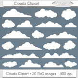 Clouds Clip Art Digital Clouds Clipart Vector Scrapbooking