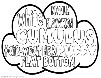 Clouds Coloring Pages and Doodle Notes